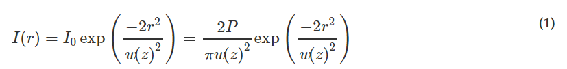 Gaussian beam waist equation